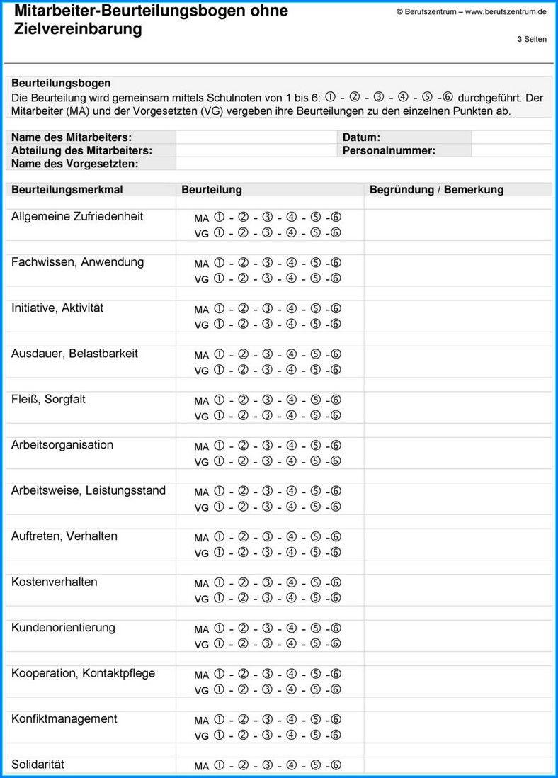 Mitarbeiterbeurteilung Muster Leistungsbeurteilung