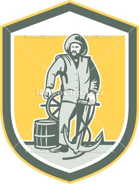 anchor, artwork, captain, crest, drum, fisherman, graphics, helm, helmsman, illustration, male, man, retro, sea captain, shield, steering, w...