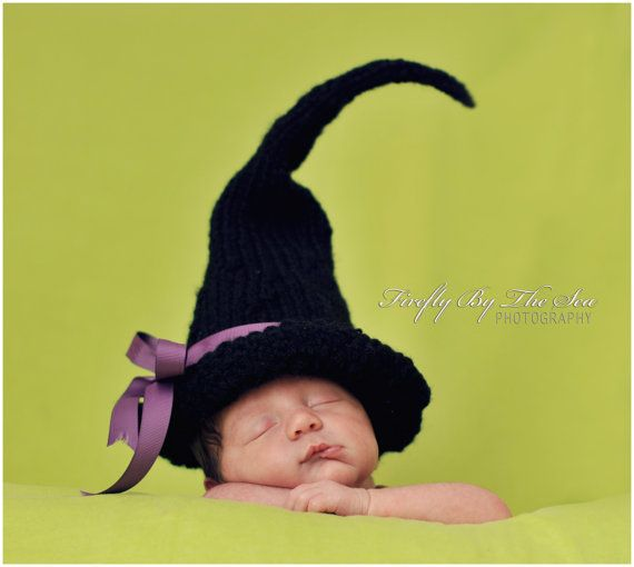Halloween witch baby hat perfect newborn photo by MimiLaCreations, $33.00