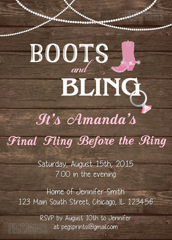 Boots And Bling Invitation Country Bachelorette Party