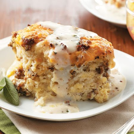 Talk about a decadent way to start the day: Sausage, Egg & Biscuit Casserole. #breakfast #brunch