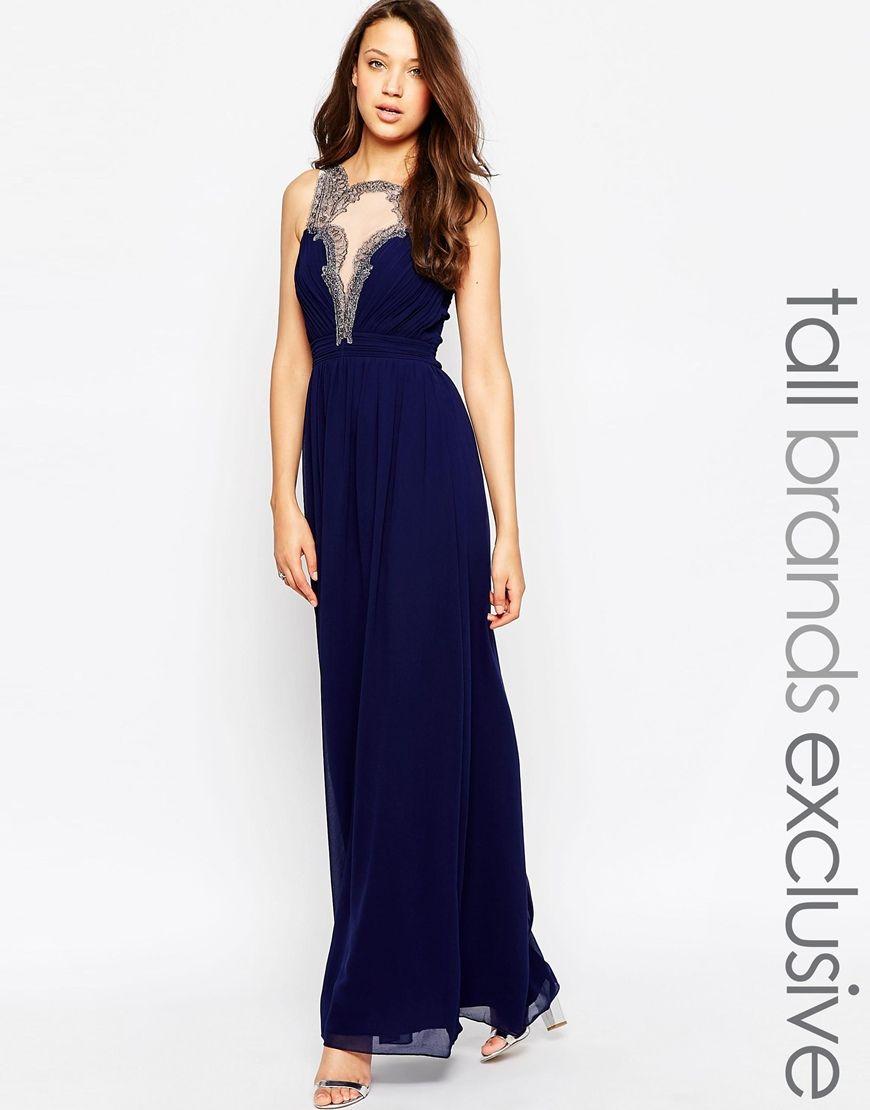 Little Mistress Tall Baroque Lace Applique Maxi Dress   long dresses ...