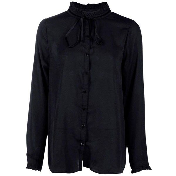 Boohoo Sophia Ruffle Tie Neck Blouse | Boohoo ($18) ❤ liked on Polyvore featuring tops, blouses, flounce blouse, frilly tops, tie neck blouse, neck tie blouse and tie neck top