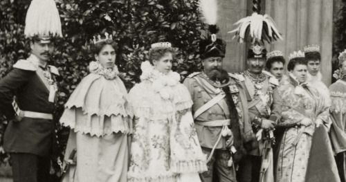 Glittering gathering: From L to R : Grand Duke Ernst Ludwig of H, spouse Grand Duchess Victoria Melita, Crownprincess Marie of Romania, Prince Afred, Duke of Saxe Coburg and Gotha, Kaiser Wilhelm II of Prussia, Grand Duchess Maria Pavlovna of Russia (the elder), Princess Marie, Duchess of Saxe Coburg and Gotha, Princess Mary, duchess of York and Kaiserin Augusta Viktoria of Prussia , all together at the Wedding of Princess Alexandra of Edinburg with Prince Ernst of Hohenlohe-Langenburg…