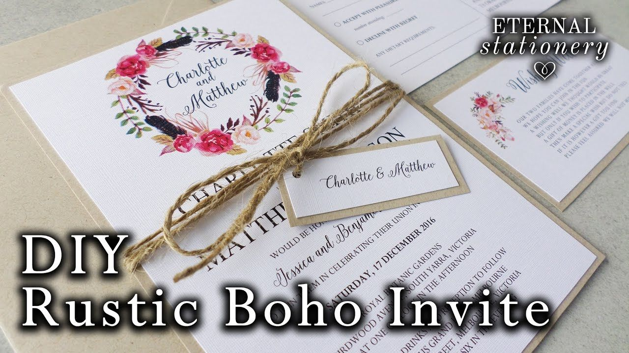 How to make a rustic boho floral wreath wedding invitation diy