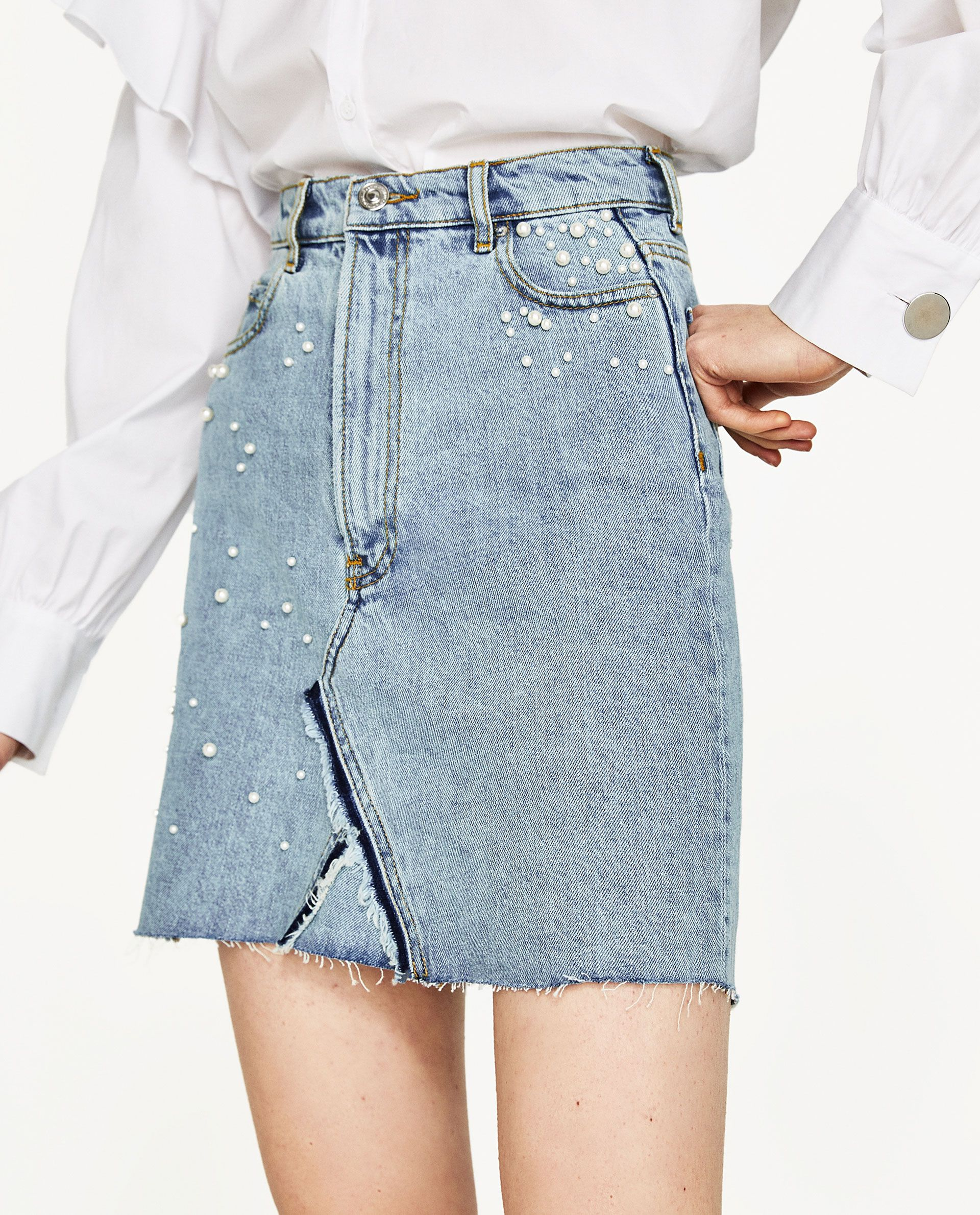 aa0ae195207 Image 2 of DENIM SKIRT WITH PEARL DETAILS from Zara