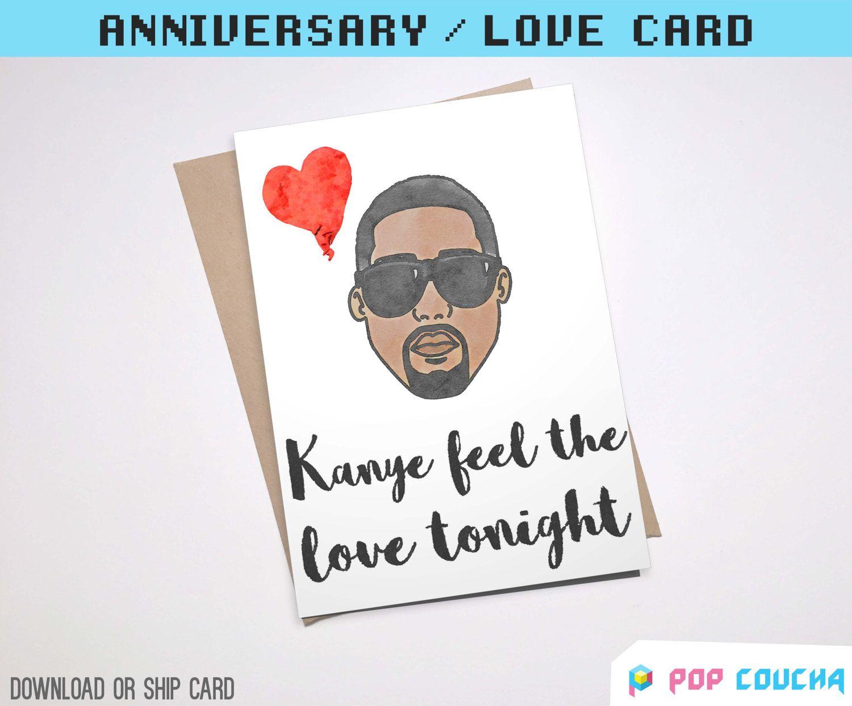 Kanye West Greeting Card Can You Feel The Love Tonight Kim Kardashian Pun Card Hip Hop Boyfriend Girlfriend Birt Birthday Cards For Girlfriend Pun Card Cards