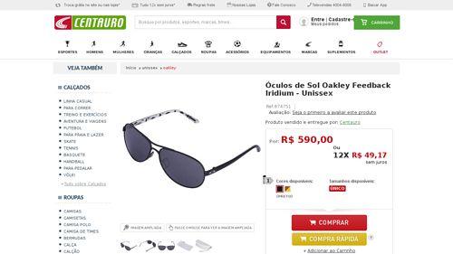 21121544fe3d8  Centauro.com.br  Óculos de Sol Oakley Feedback Iridium - Unissex -