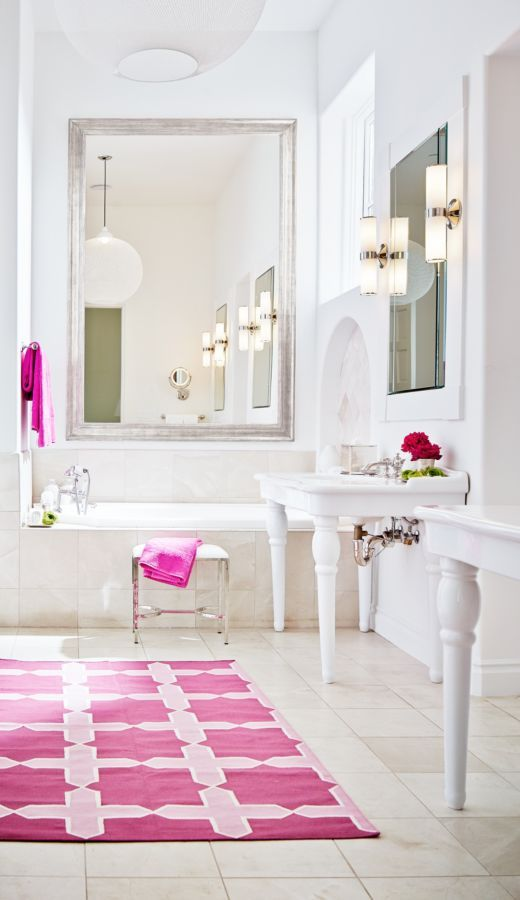 Pink Accents Pop In This White Bathroom With Wall Coverings Completed By Ross Painting Luxesanfran Home Interior Beautiful Bathrooms