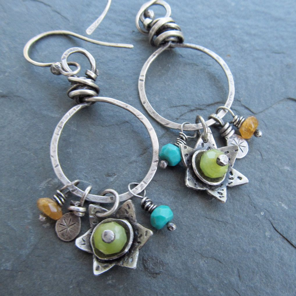 Wire Wrapped Silver Hoop Earrings Turquoise Flower Charms Dangling ...