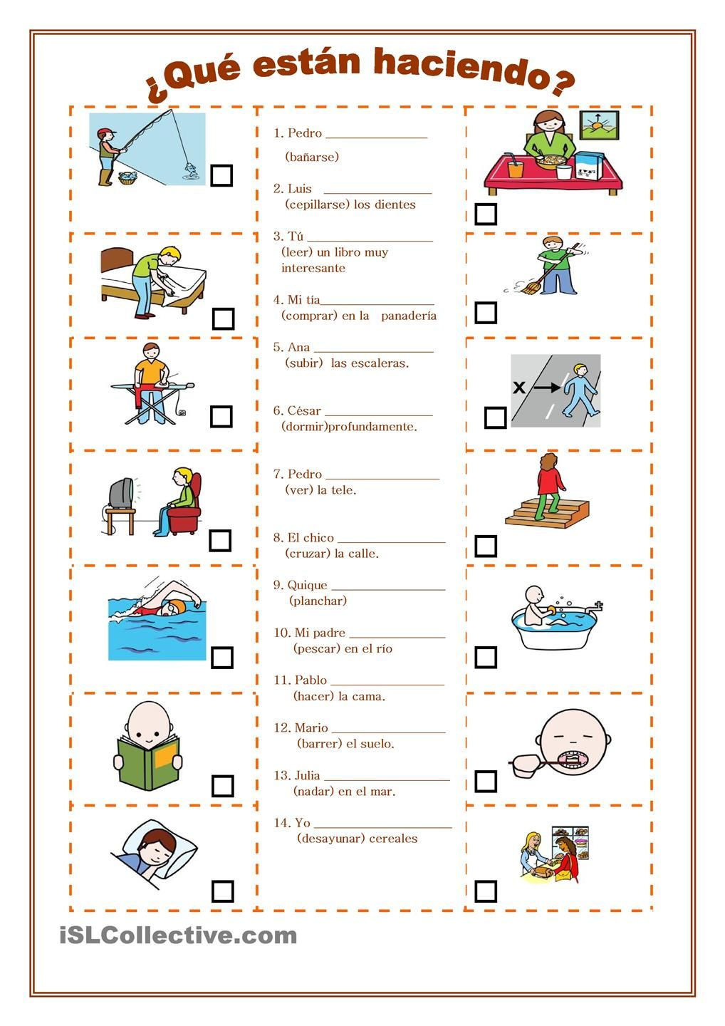 Workbooks weather expressions in spanish worksheets : ¿Qué están haciendo? 3 | Verbos | Pinterest | Spanish, Teaching ...