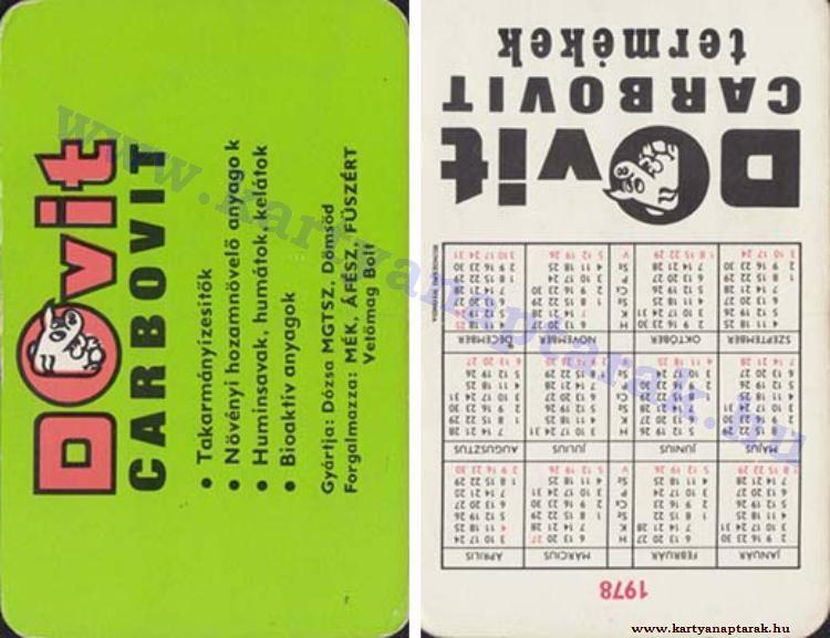 1978 - 1978_0640 - Régi magyar kártyanaptárak