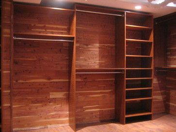 walk-in closet in brick and cedar basement with flush ceiling light