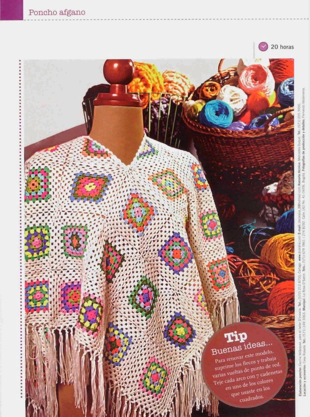 Patrones de Poncho afgano al crochet | Crochet granny | Pinterest ...