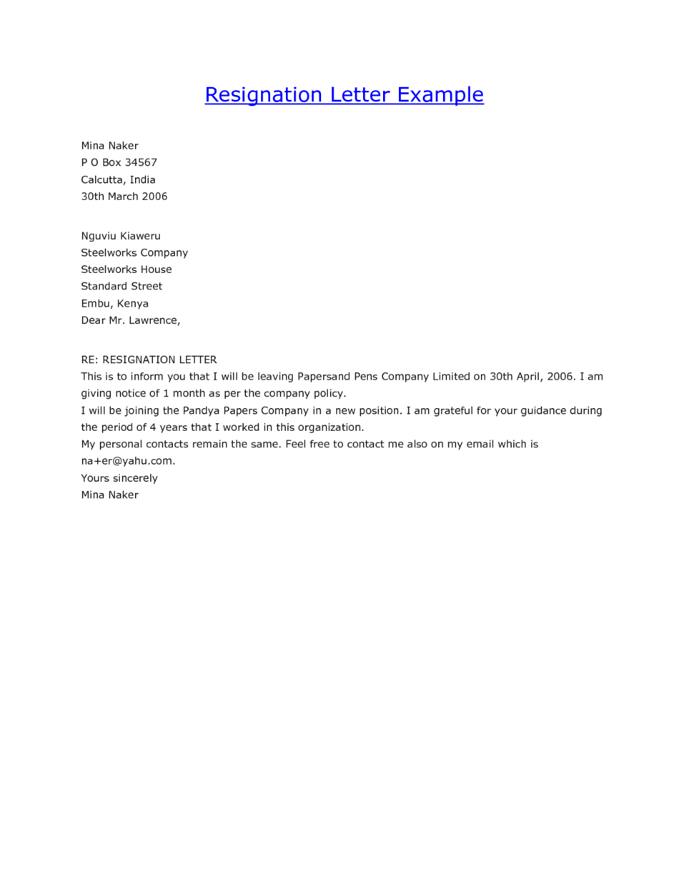 Copy Of Resignation Letter Examples Guatemalago