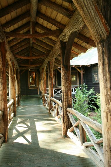 Rustic Covered Walkways Lake Placid Lodge Cabin