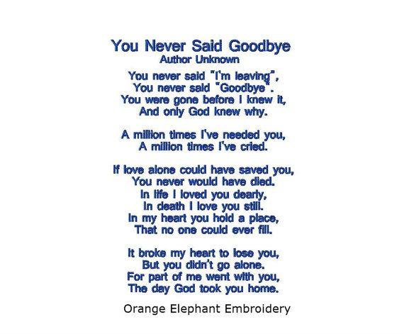 You never said goodbye poem