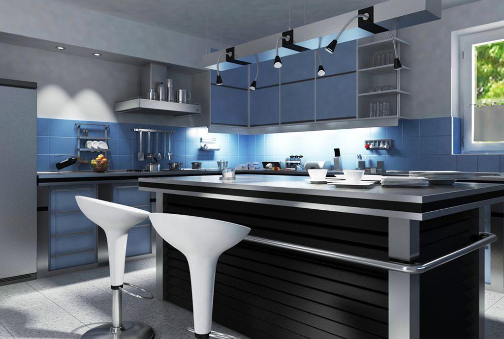 Cocina color azul con negro de estilo modernista con acabados de ...