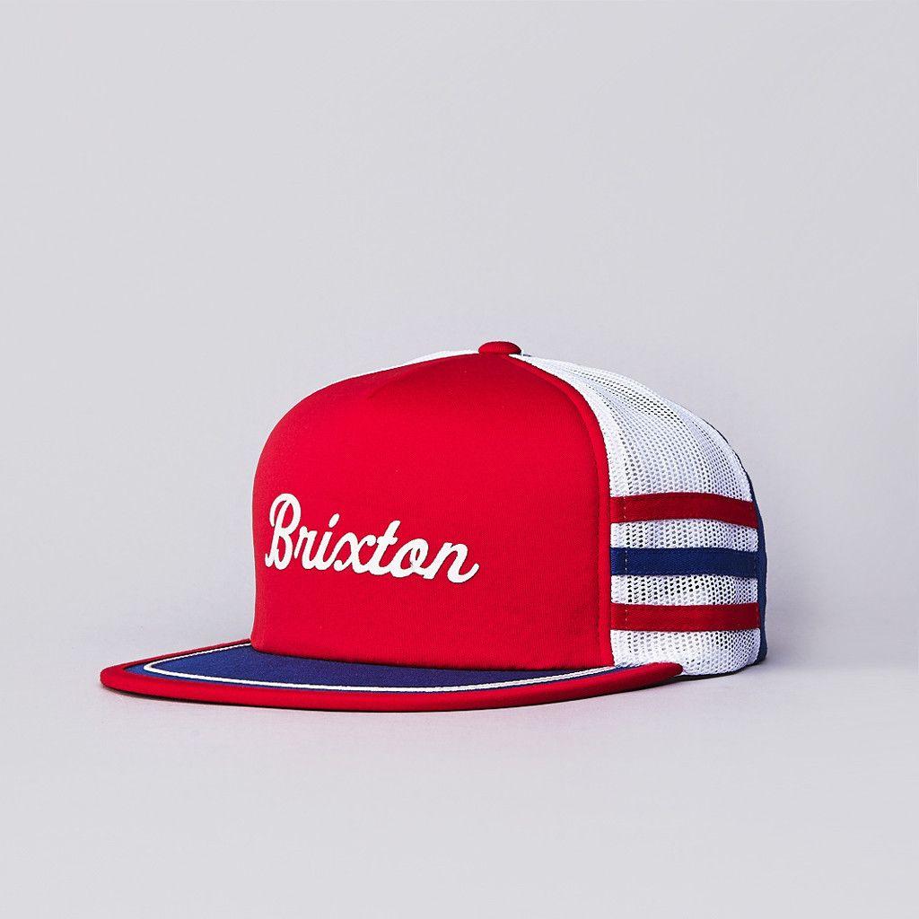 Flatspot - Brixton Pilsner Mesh Snapback Cap Red   White   Blue Five Panel  Cap 96aaffa8efe1