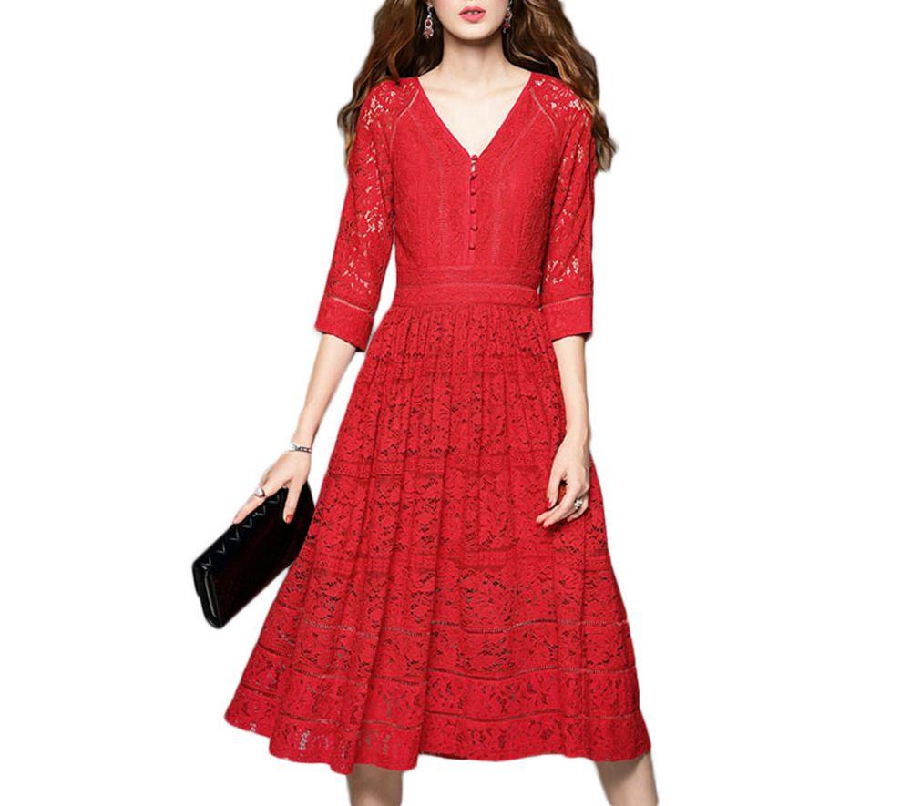 Click to buy ucuc elegant red black vneck tea length prom dresses