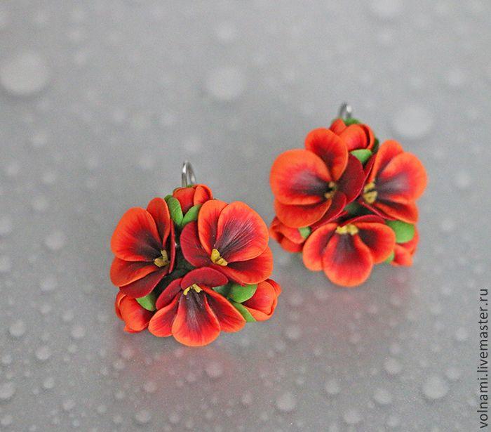 """""""Рыжая"""" серьги - рыжий,серьги,цветы,цветы из полимерной глины,подарок девушке"""