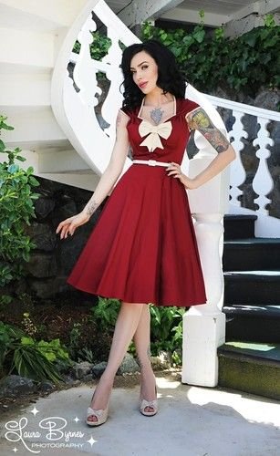 e757e19e06a9 Pinup Couture Heidi Swing Dress s Ruby Red Retro Needs Alteration Petite  Gals | eBay