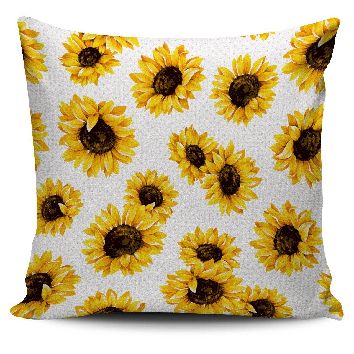Sunflower Polka Dot Pattern Print Pillow Cover