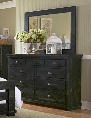 Drawer Dresser And Mirror Distressed Black Products Pinterest