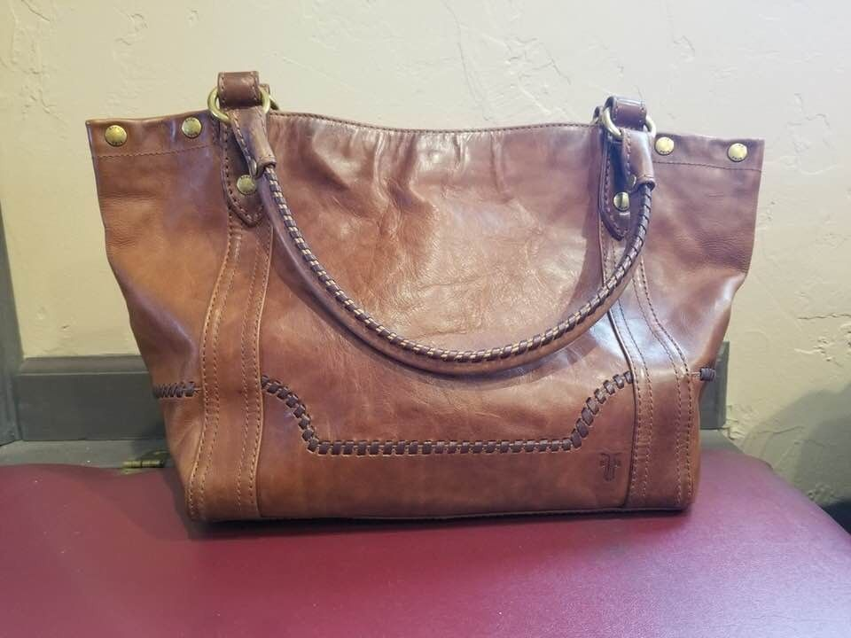 a3283a710e46 NWT~Frye Leather Melissa Distressed Whipstitch Shoulder Bag~Tote~Brown WOW