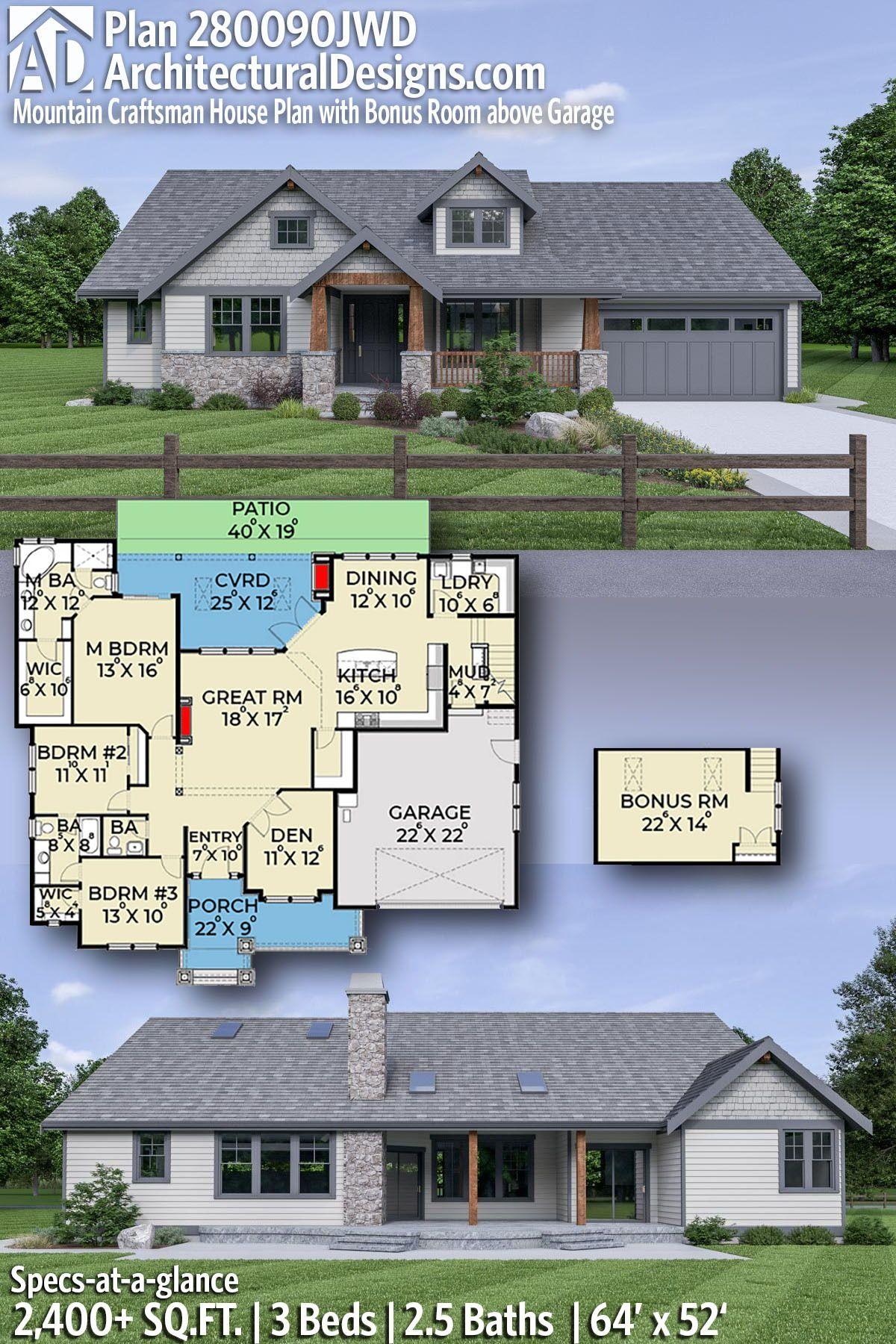 Plan 280090jwd Mountain Craftsman House Plan With Bonus Room Above Garage In 2020 Craftsman House Plan Craftsman House Rustic House Plans
