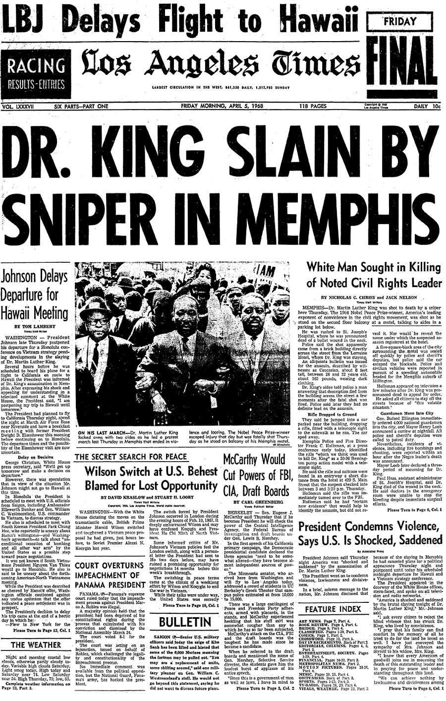 Mlk Assassination Headlines