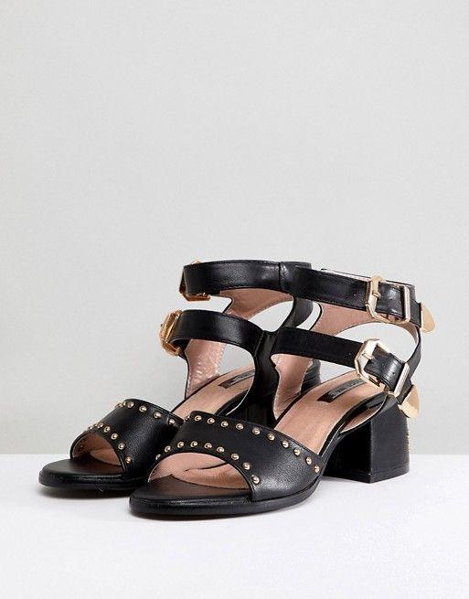 Lost Ink Western Studded Heeled Sandals