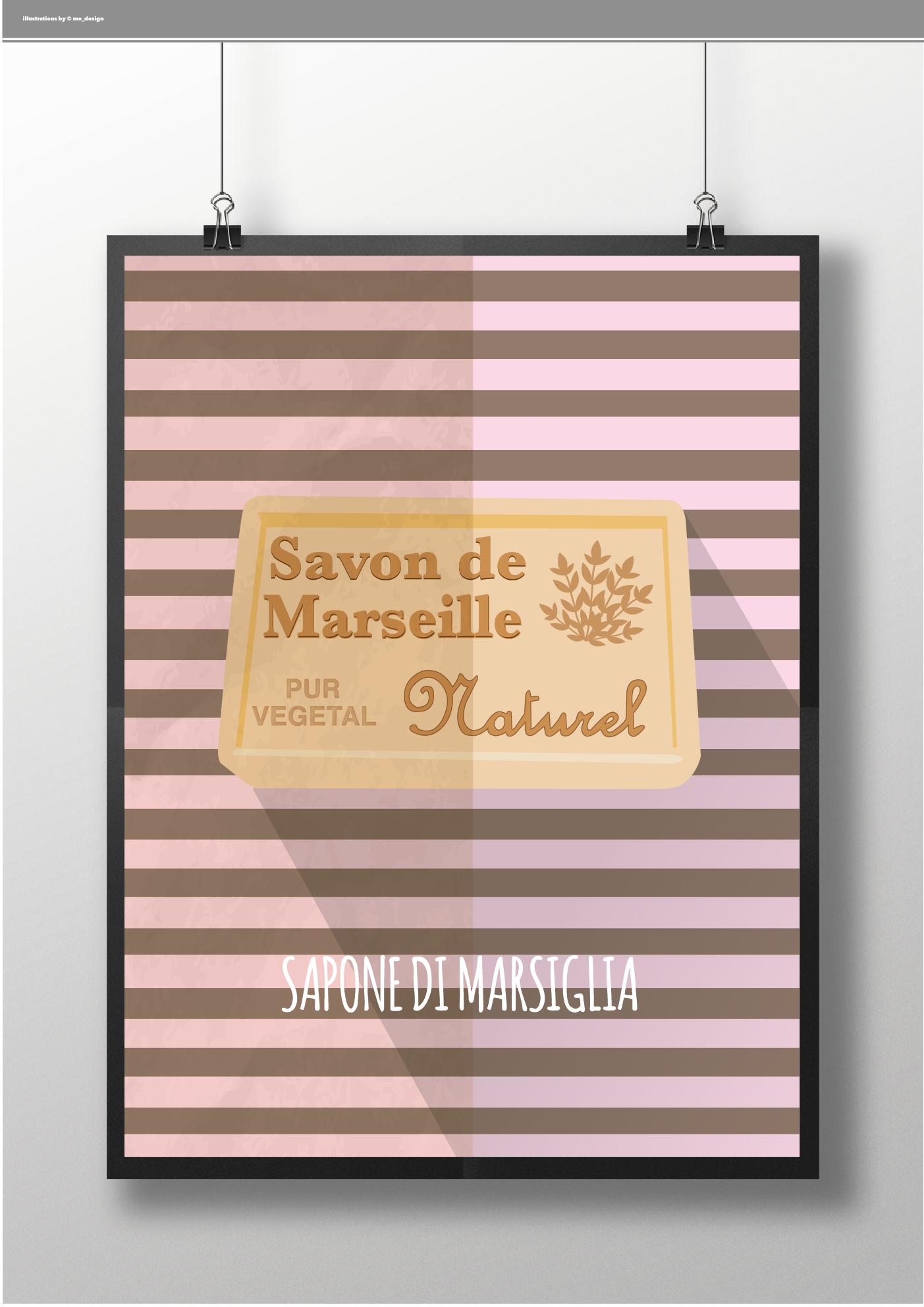#Marsiglia Poster Collection - Sapone di Marsiglia | illustration by ME_DESIGN  INFO ercolino.milanese@gmail.com