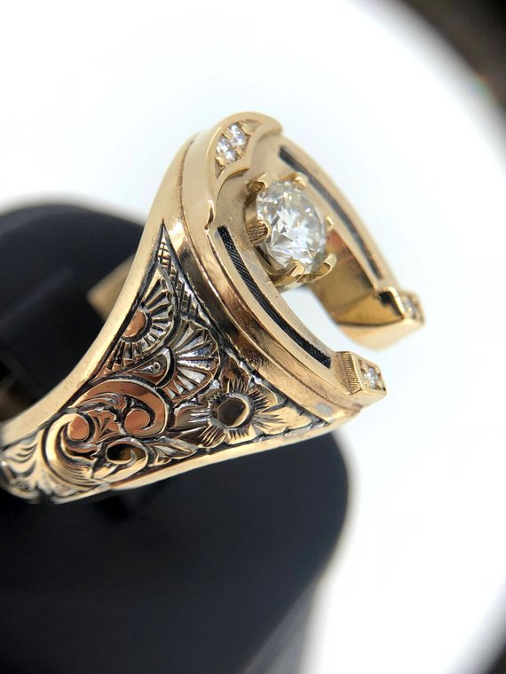 930e036f156a1 Unique Mens Ring, Mens Diamond Ring, Horseshoe Ring, Solid 14k Gold ...