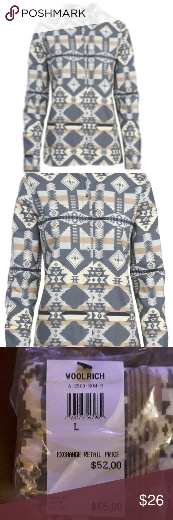 f4276db3 Woolrich Keystone Printed Chamois Shirt Color: Dark Ash Made from soft,  100% cotton