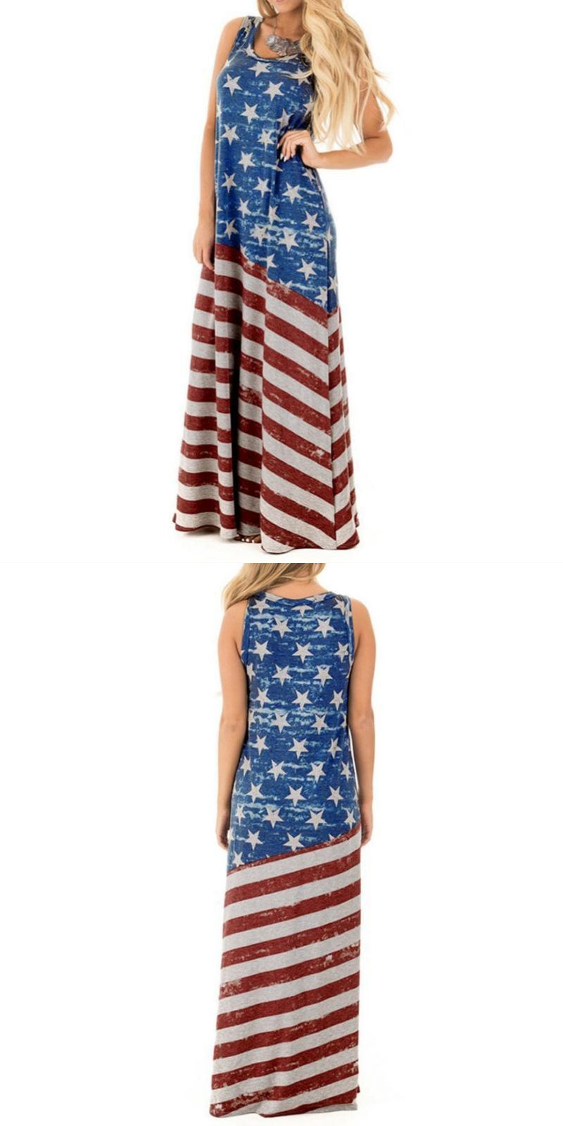 801965f18a0f 2018 sexy women flag print dress 4th of july loose sundress round ...