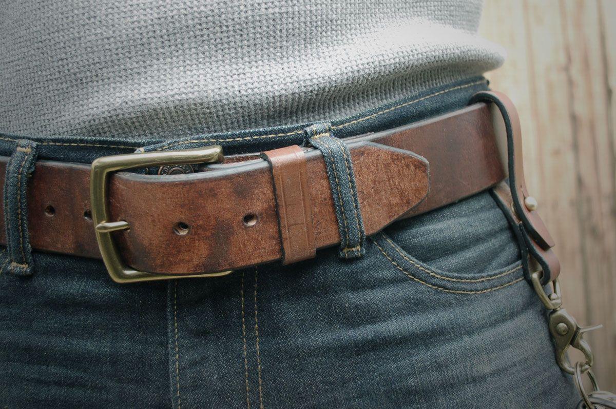 Thick leather belt spank
