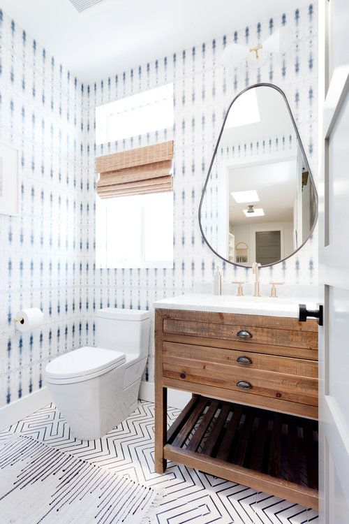 Wallpaper Powder Room Modern Bohemian Bathroom Cle Tile Zenith Beachy