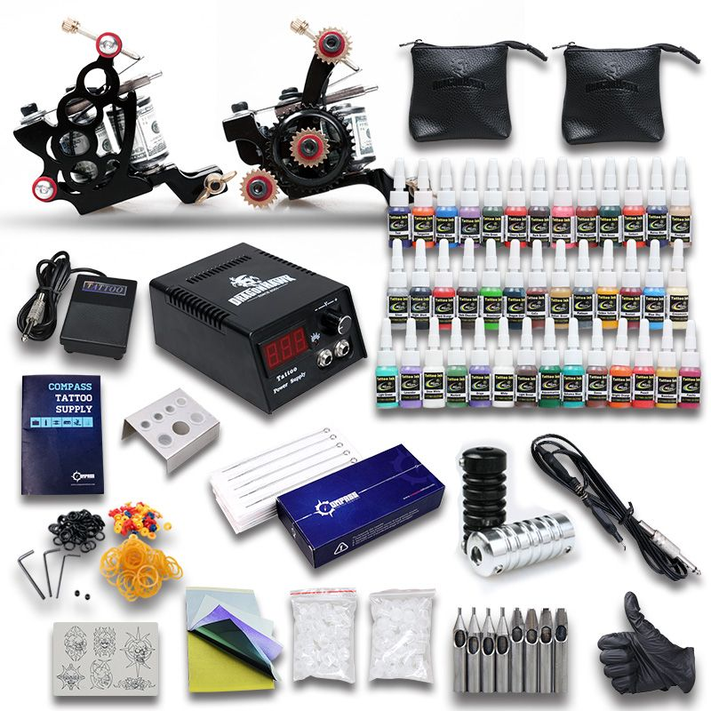 Starter Tattoo Kit 2 Tattoo Machine Power Supply Needles 40 Inks