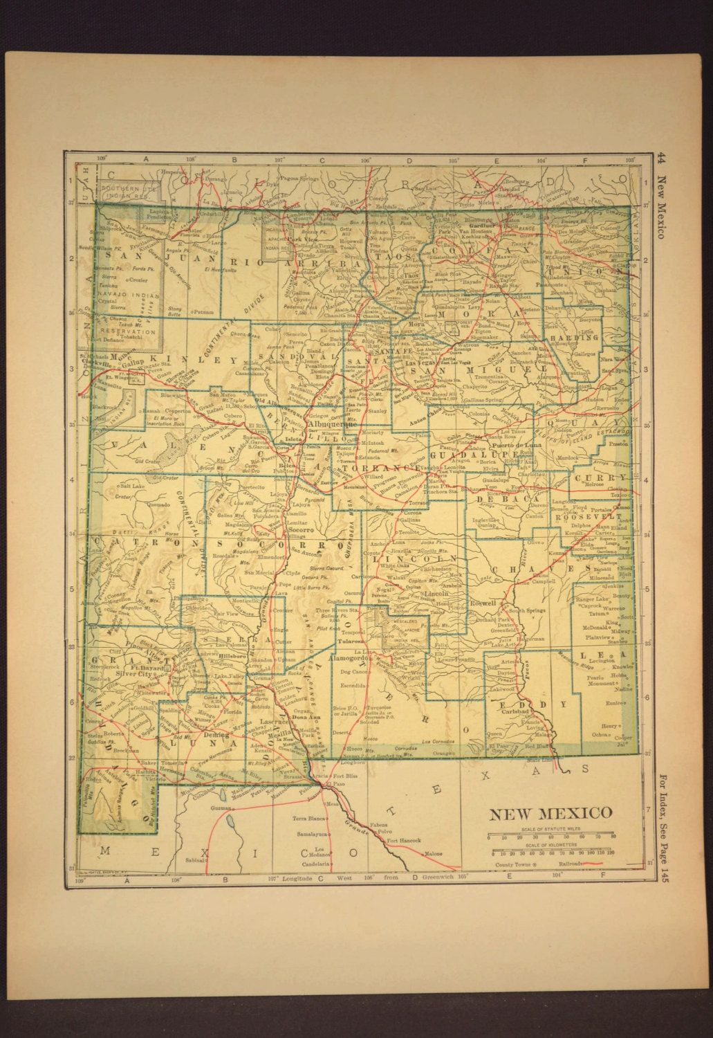 New Mexico Map New Mexico Antique Railroad Original Yellow | Map ...