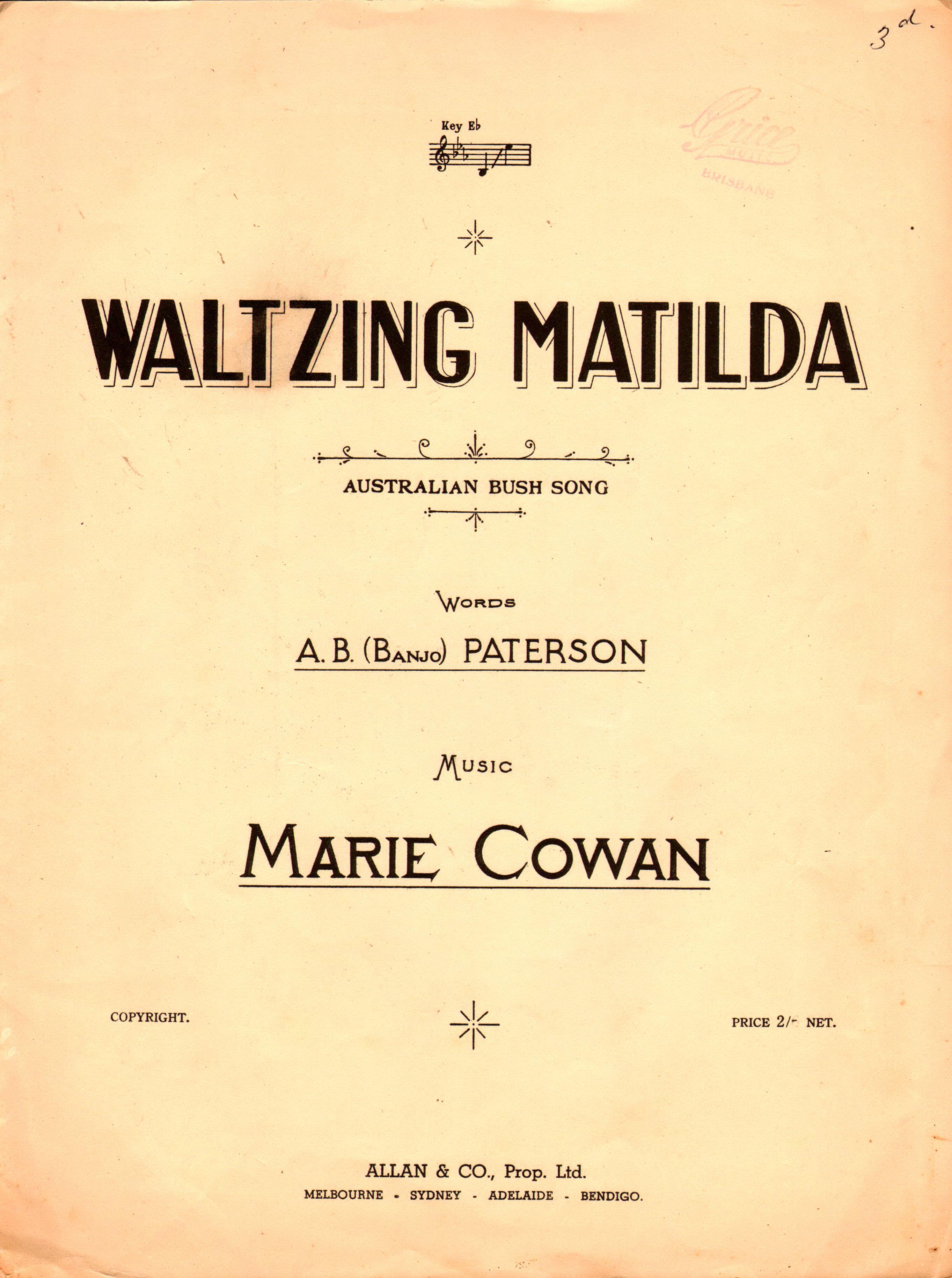 Waltzing Matilda. 1936. Words by A.B.(Banjo) Paterson