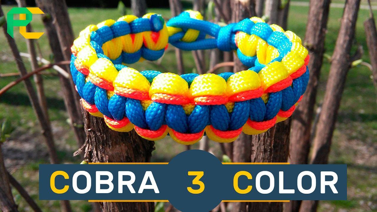 Cobra 3 color paracord bracelet without buckle paracord