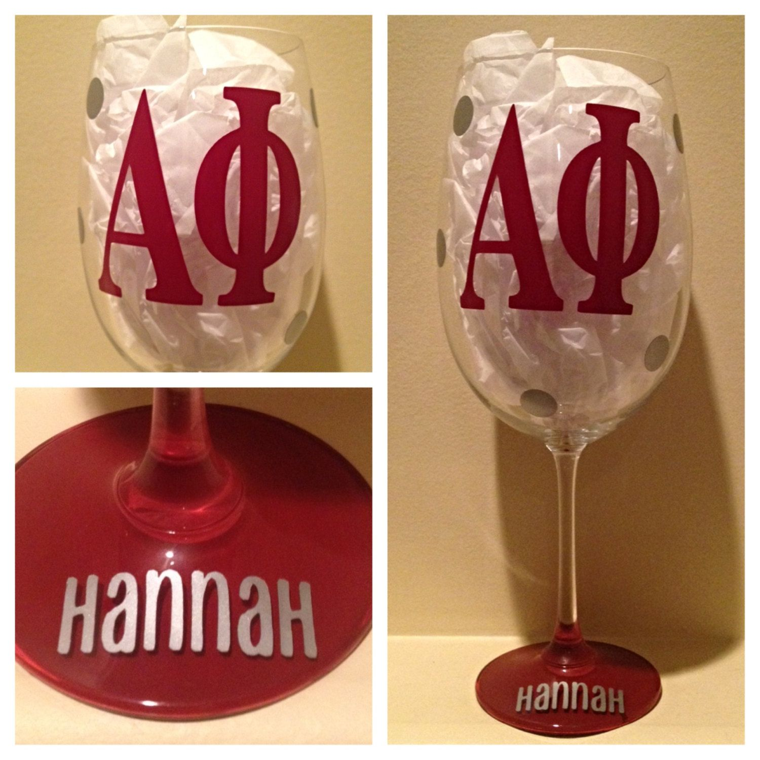 Alpha Phi Personalized Wine Glass Sorority Wine By Glassygurlz Personalized Wine Glass Sorority Wine Glass Custom Wine Glass