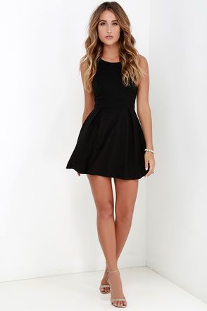 b6f4e5033c78 Cutout and About Black Skater Dress at Lulus.com!