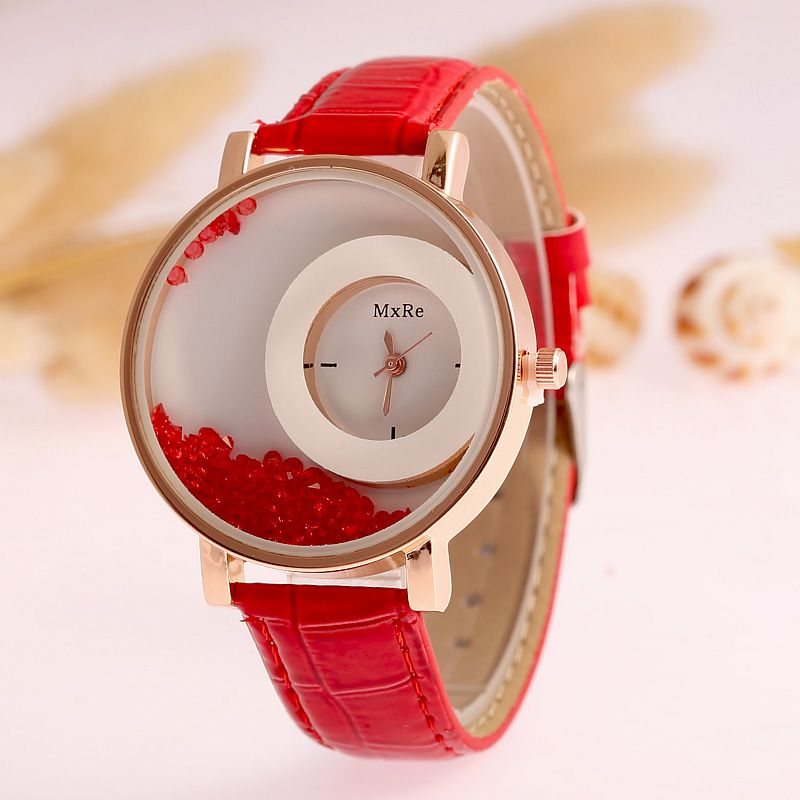 Hot Sale Mxre Brand Pearl Stylish Diamond Leather Quartz Watch ...
