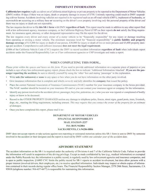 Form SR1 CA DMV Form SR 1 Online Pinterest - accident report template