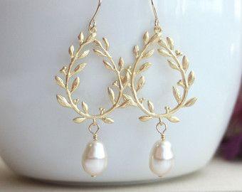 Lorbeerkranz Ohrringe Creme Farbe Elfenbein Perle Ohrringe Gold Kronleuchter  Ohrringe Perle Hochzeit Schmuck Braut Ohrring Kranz