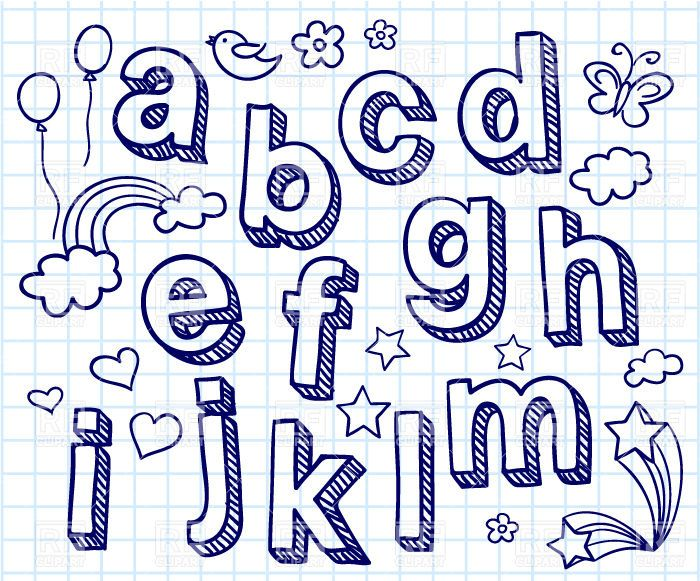 Hand Drawn Font  Shaded Letters And Decorations  Design