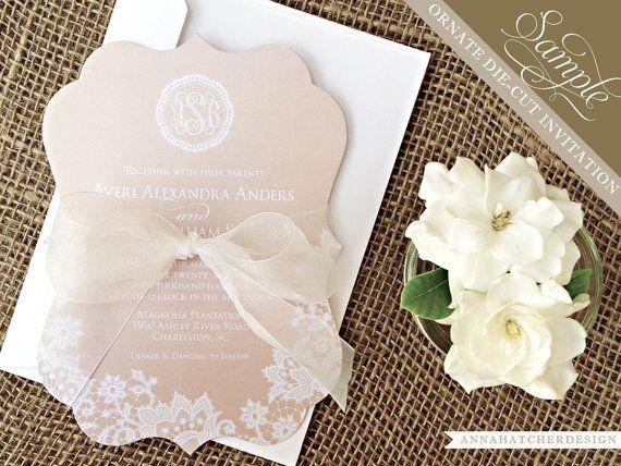 SAMPLE: Champagne & Lace Ornate Die Cut Wedding Invitation / Paper ...