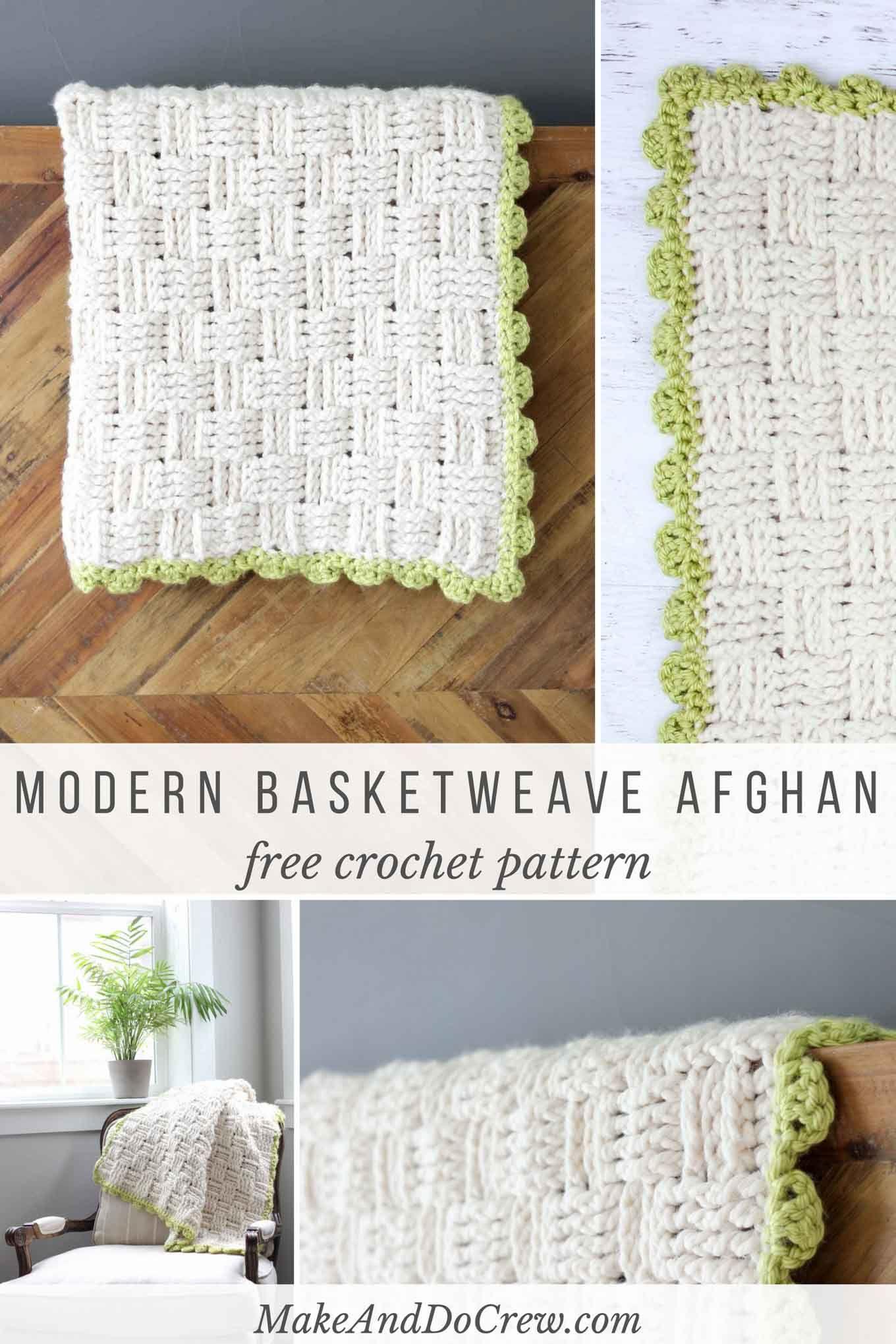 Modern Crochet Basketweave Afghan - Free Pattern | Cobija, Mantas ...
